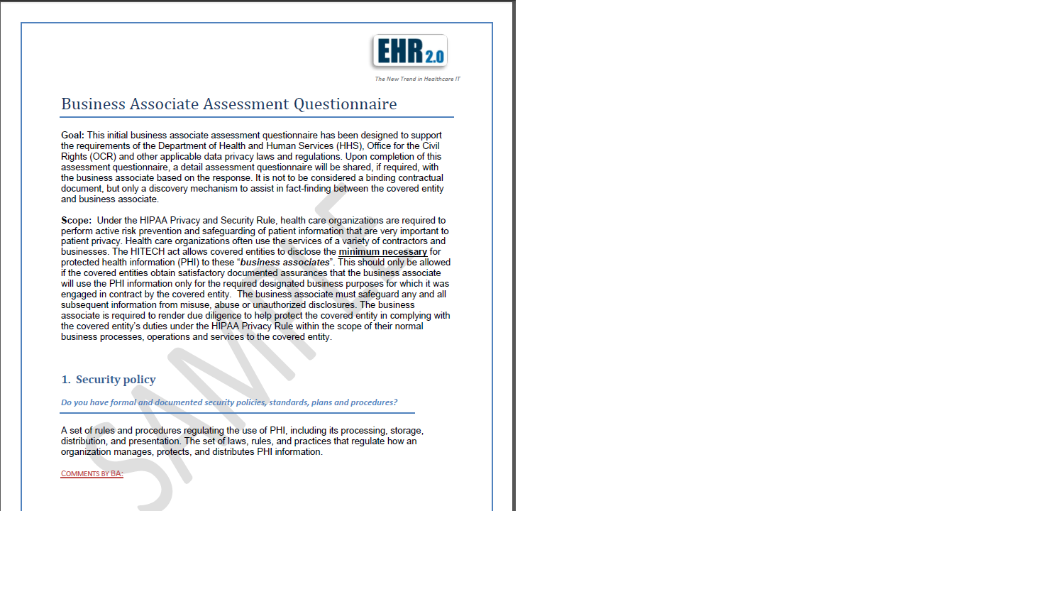 HIPAA Compliance Assessment and Toolkit – Business Associate Agreement Template