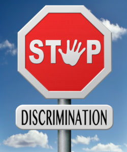 stop discrimination equal rights equality no racism based on age race or etnicity gender